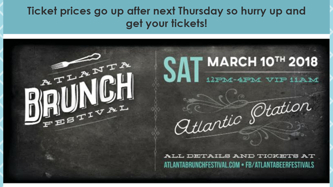 Atlanta Brunch Festival — Ticket Price Increase
