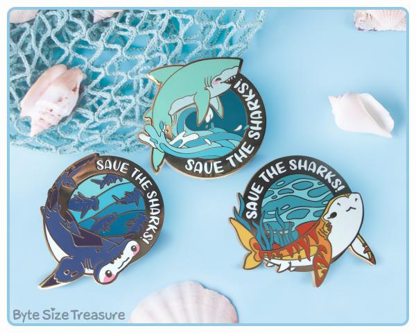 Save the Sharks Enamel Pins