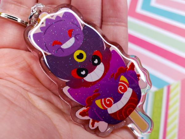 Pokemon Gengar and Clefairy 3 inch Glitter Acrylic Double Sided Keychain Mochi Stack Cute Nintendo Gift