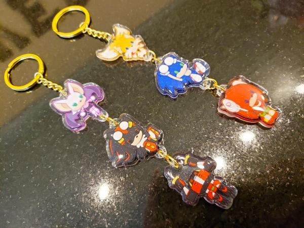 Sonic Heroes: Team Hero + Team Dark Stacked Chain Charm Set Double Sided Glitter Epoxy Acrylic