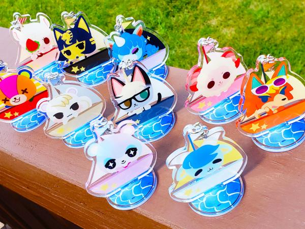Animal Crossing New Horizons Sailboat Villagers Acrylic Keychain Standee Approx. 2.5 inches Cute Gift Nintendo