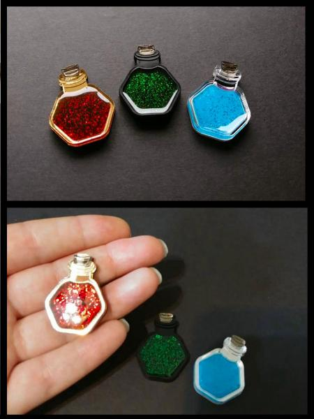 Potion Bottle Pins: HP, Mana, Poison