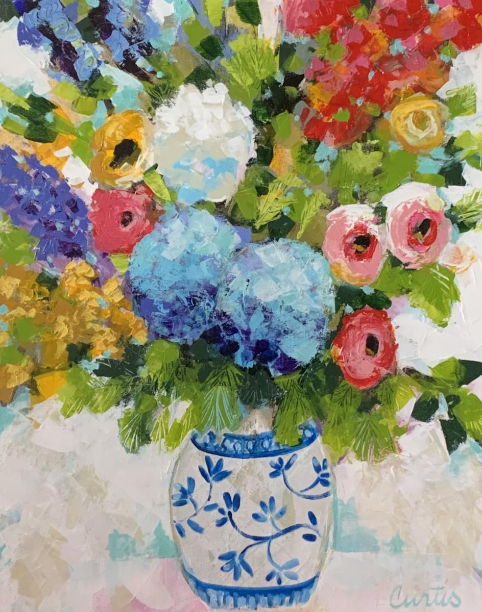 Blue and White Floral 24x30
