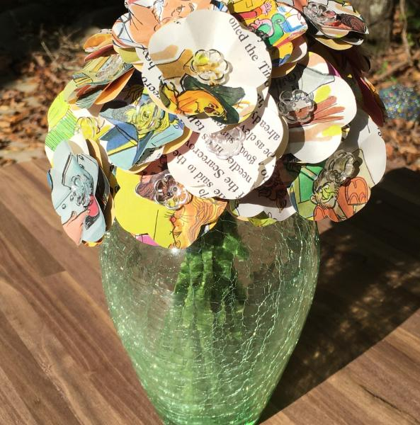 Wizard of Oz little golden book hand-cut paper flower arrangement in green crackle glass vase