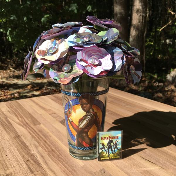 Black Panther, Warriors of Wakanda little golden book hand-cut paper flower arrangement in vase