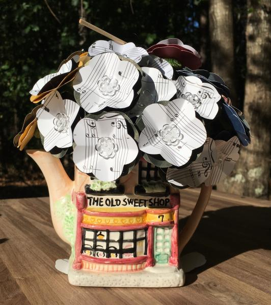 Music Sheet Hogwarts Hymn hand-cut paper flower arrangement, includes small quidditch broom, plus sweetshop vase (teapot)