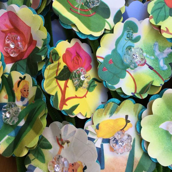 Alice in Wonderland finds the Garden of the Live Flowers hand-cut paper flower bouquet
