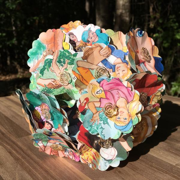 Barbie, Scavenger Hunt, little golden book hand-cut paper flower arrangement