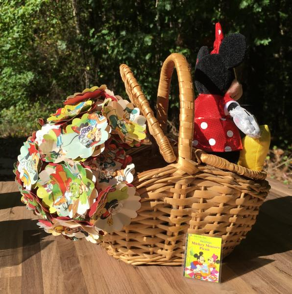 Mickey Mouse's picnic hand-cut paper flower arrangement in picnic basket, with small plush Minnie