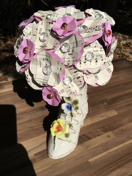 "Music Sheet 'My Fair Lady"" Wouldn't it be Loverly hand-cut paper flower arrangement in ceramic flower boot"