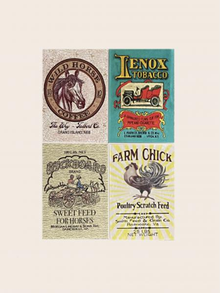 Note Cards- Vintage Burlap Sack & Tin designs