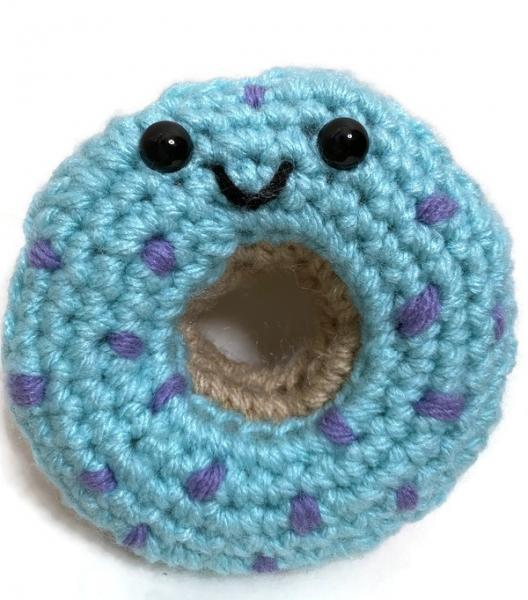 Crochet Donut Blueberry with Purple Sprinkles Plush