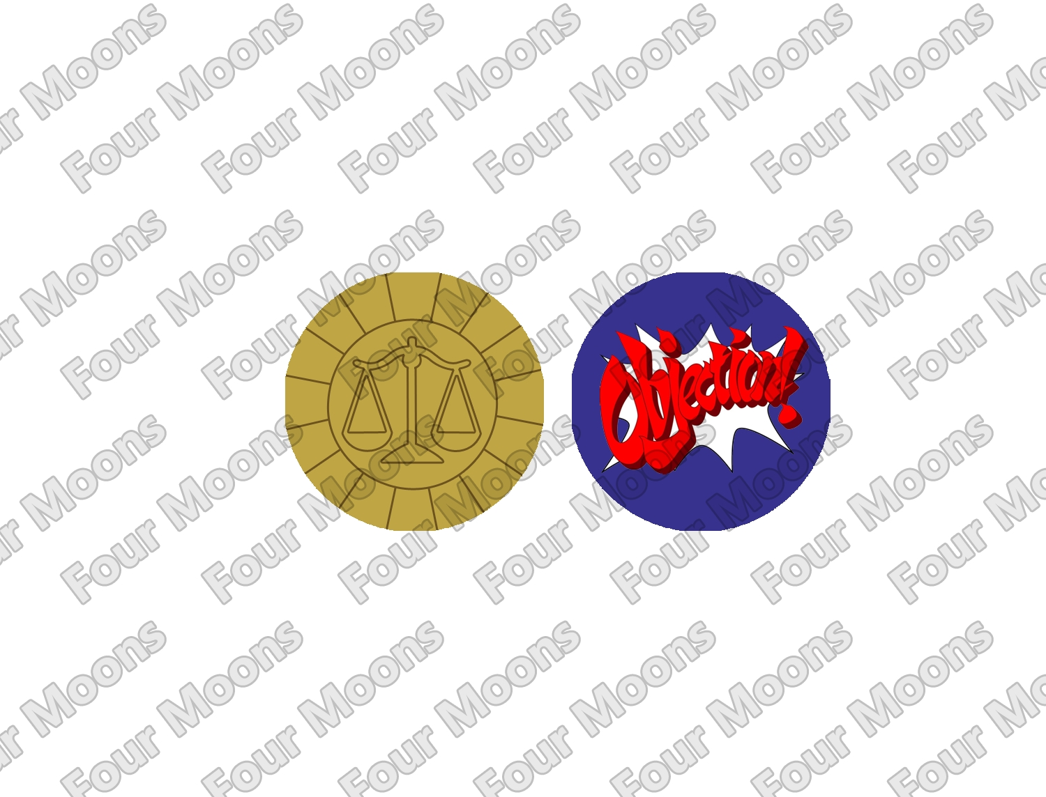 Phoenix Wright Ace Attorney Button Set (2)