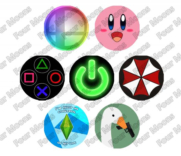 Assorted Video Games Button Set (7)
