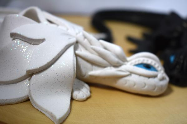 White and Black Clay Dragon Pair picture