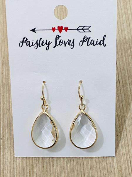 Clear Color Glass Faceted Tear Drop Style Earrings 1""