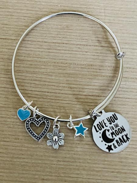 Girls Love You To The Moon & Back Charm Bracelet