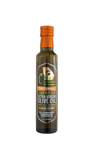 Garlic Flavored OLIVE ORCHARDS OF GEORGIA Extra Virgin Olive Oil (250 ml/ 8.5 fl oz)