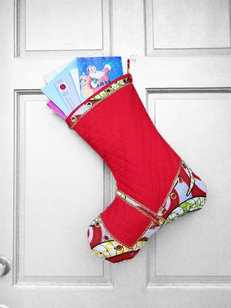 Large Christmas Stocking - Quilted Cutie African Print Indoor/Outdoor Christmas Decoration
