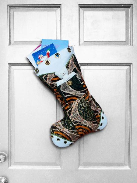Large Christmas Stocking - Holiday Web African Print Indoor/Outdoor Christmas Decoration