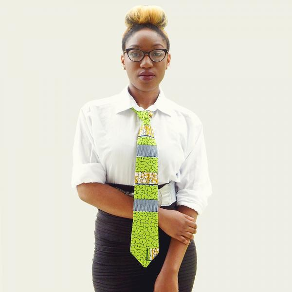Green and Blue African Print Necktie - Made with Authentic African Fabric