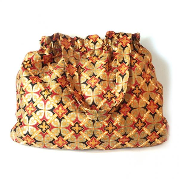 Large African Fashion Tote Bag with Inner Pockets and Coin Purse, Autumn African Print Fabric Tote