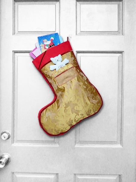 Large Christmas Stocking - Golden African Print Indoor/Outdoor Christmas Decoration w/Pocket