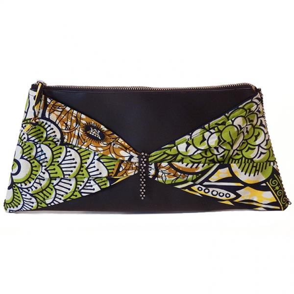 African Fashion Clutch Handbag with Inner Pocket, Butterfly Bow Tie African Print
