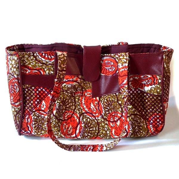 Large African Handbag with Inner Pockets, Rustic Seashells African Print