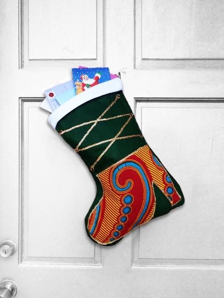 Large Christmas Stocking - High Step African Print Indoor/Outdoor Christmas Decoration