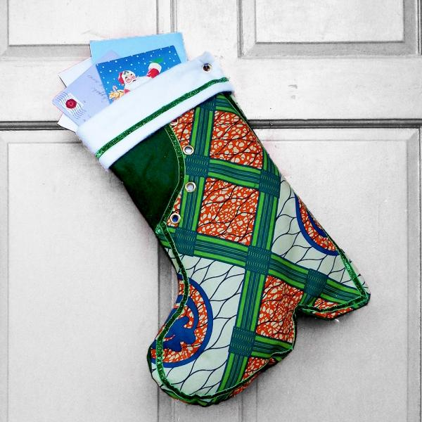 Large Christmas Stocking - Kente Boot African Print Indoor/Outdoor Christmas Decoration