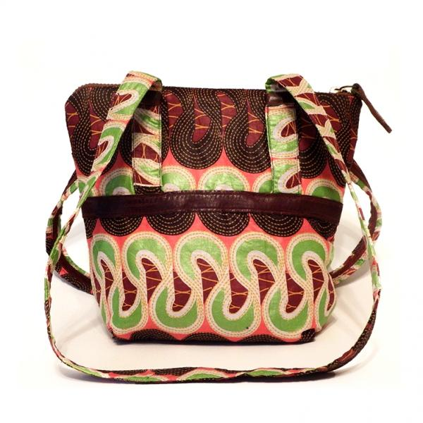 African Handbag with Inner Pockets, Winding Seeds African Print