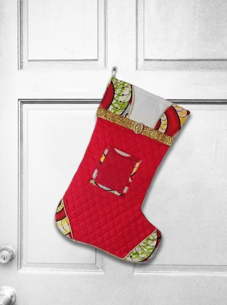 African Christmas Stocking - Quilt n' Swirl Christmas Decoration