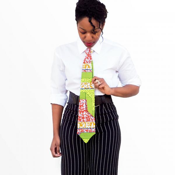 Green and Red Accented African Print Necktie - Made with Authentic African Fabric