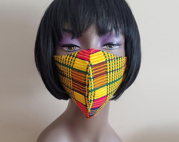 Kente African Face Mask with Filter - Washable - Made in the USA - Adult Face Mask with Nose Wire