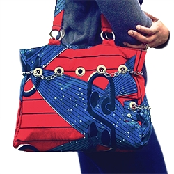 African Fashion Tote Bag with Inner Pockets, African Print Music Bag