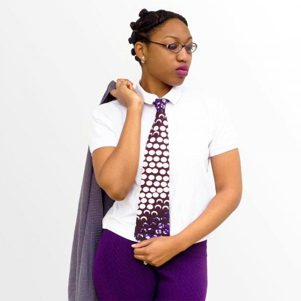 Purple and White African Print Necktie - Made with Authentic African Fabric