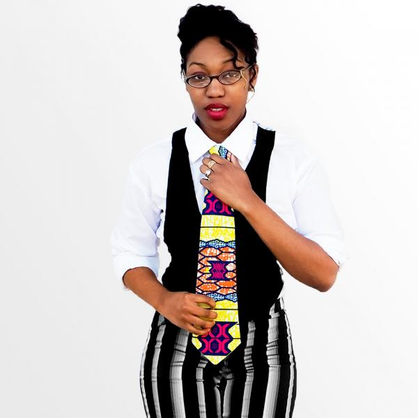 Multicolor African Print Necktie - Made with Authentic African Fabric