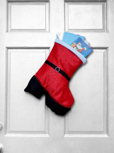 Christmas Stocking - Mrs. Claus Boot-Shaped Indoor/Outdoor Christmas Decoration