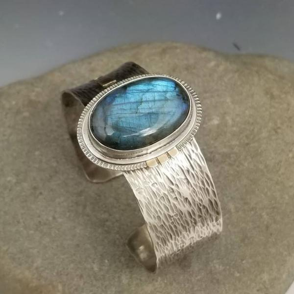 Labradorite Cuff in Sterling Silver and 14k