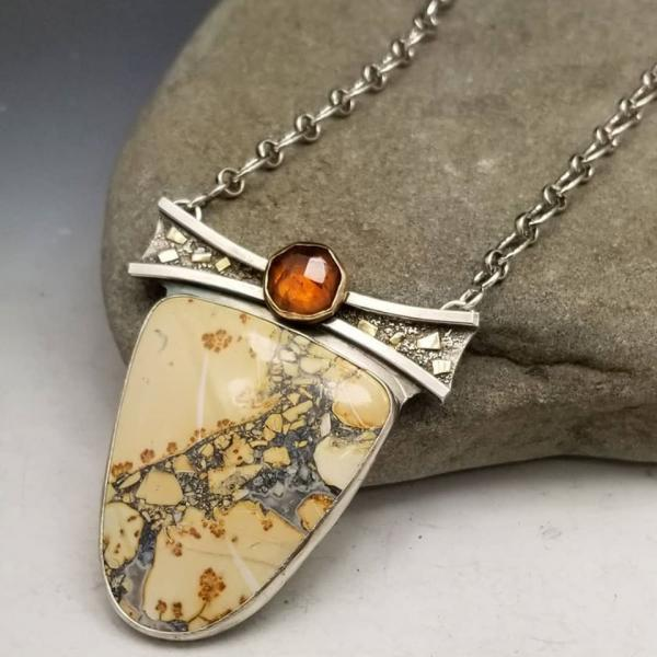 Maligano Jasper Necklace Sterling Silver and 14k