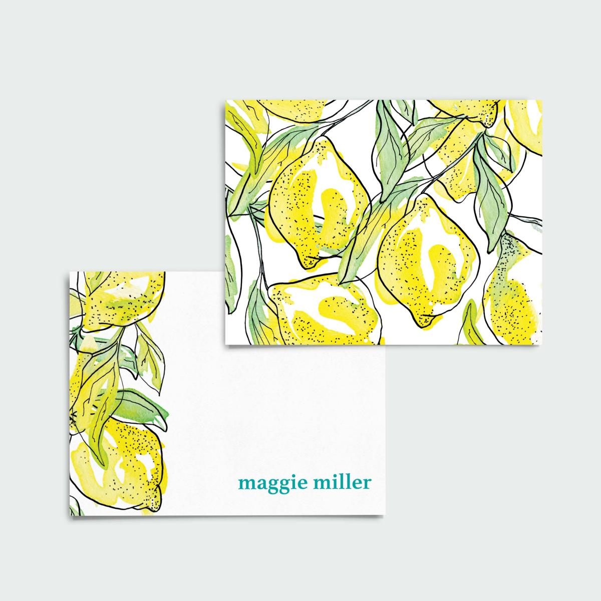 PERSONALIZED Lemony Lemon Notecards + Address Labels