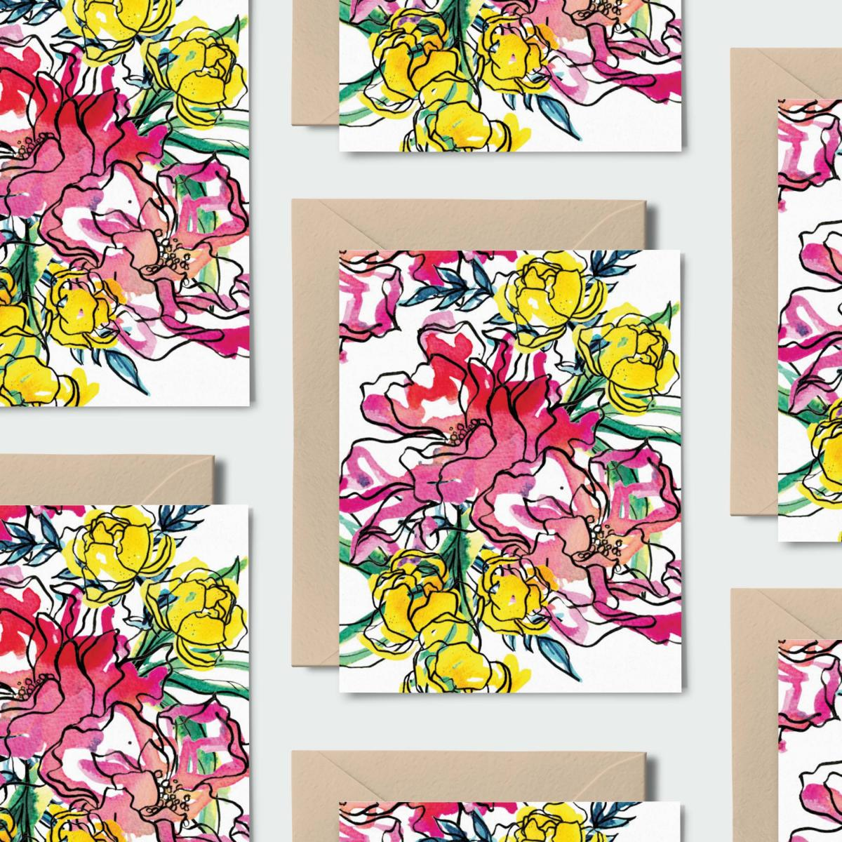 Wildflower Bouquet: Set of 8 Notecards, Kraft Envelopes + Stickers