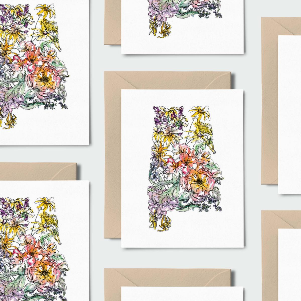 Alabama Wild: Set of 8 Notecards, Kraft Envelopes + Stickers