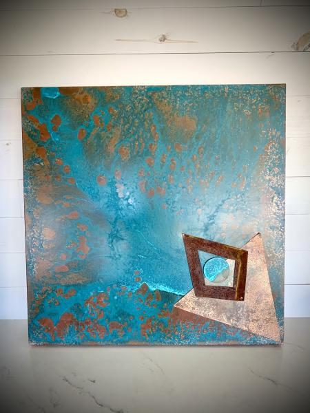 Hanging Copper Panel w Patina
