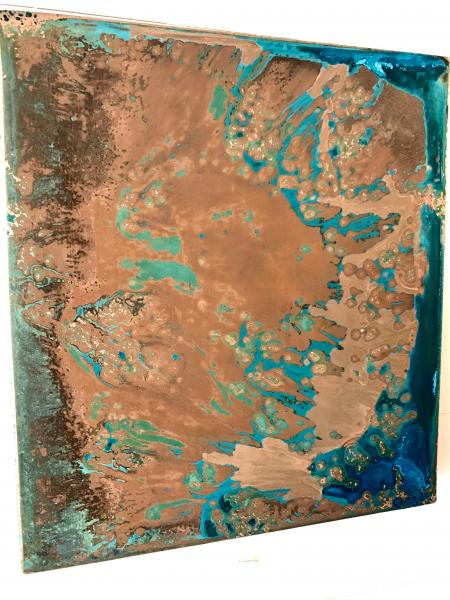 Fabricated Hanging Copper Panel w Patina