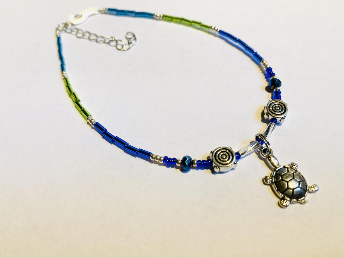 Turtle beaded anklet