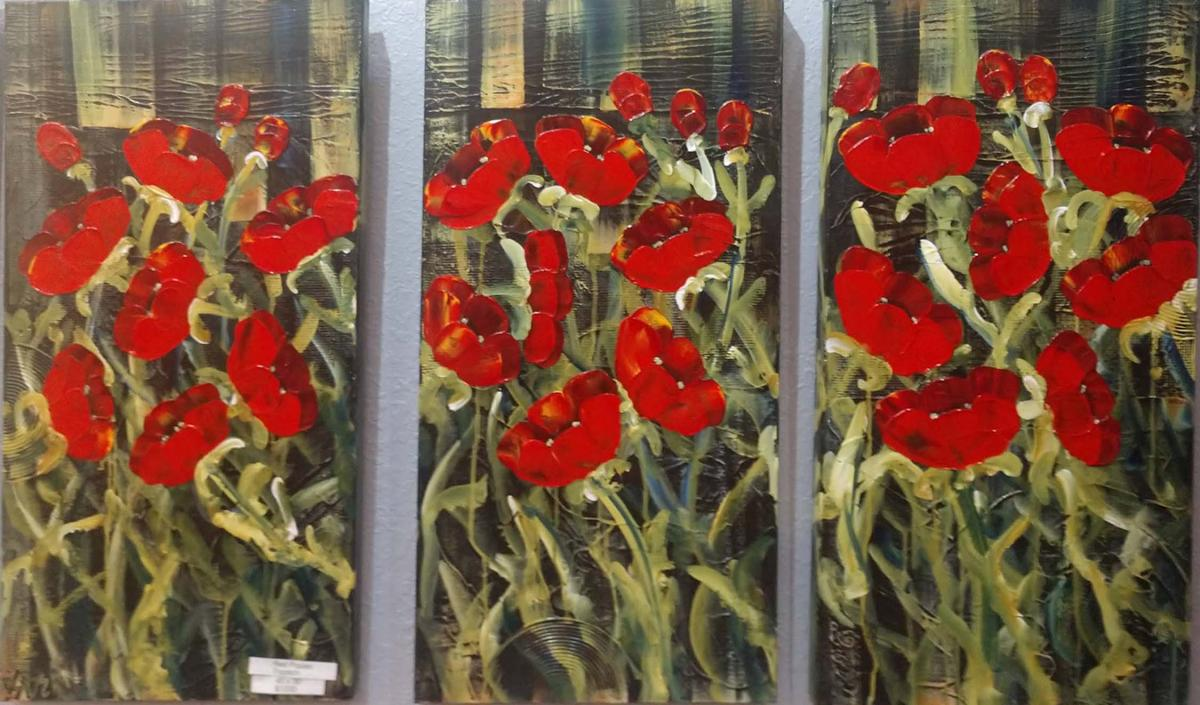 Red Poppies Tryptich 3 panel