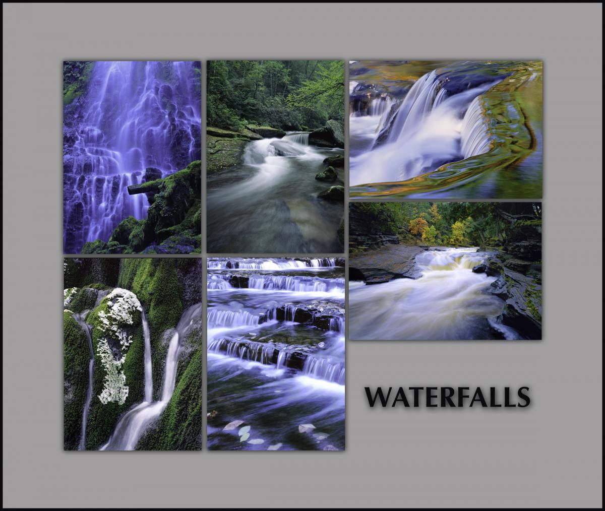 "NOTECARDS: ""Waterfalls"" - boxed set of 6 different cards, each 5""x7"""