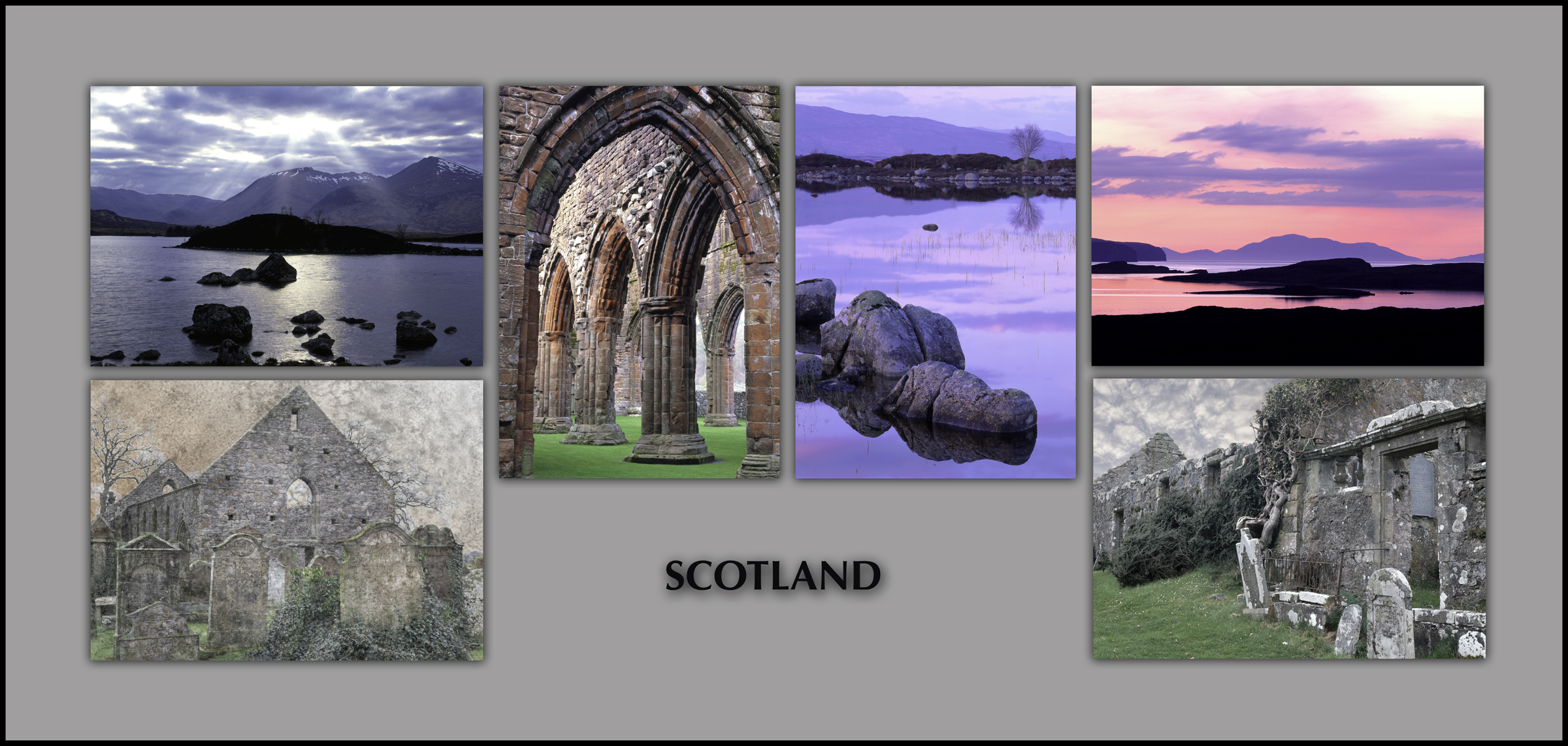 "NOTECARDS: ""Scotland"", boxed set of 6 different notecards, each 5""x7"" blank inside"